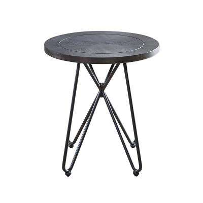 Derek Grey Top and Iron Base Round End Table