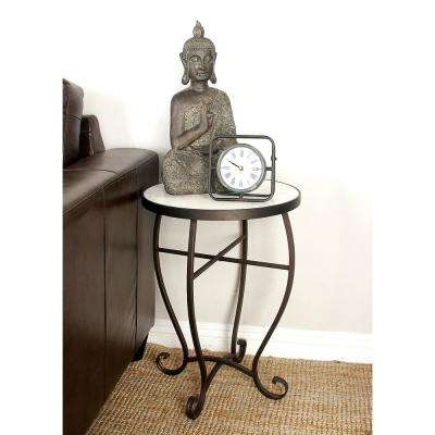 White Marble Round Side Table with Rust Red Iron Scrolled Feet