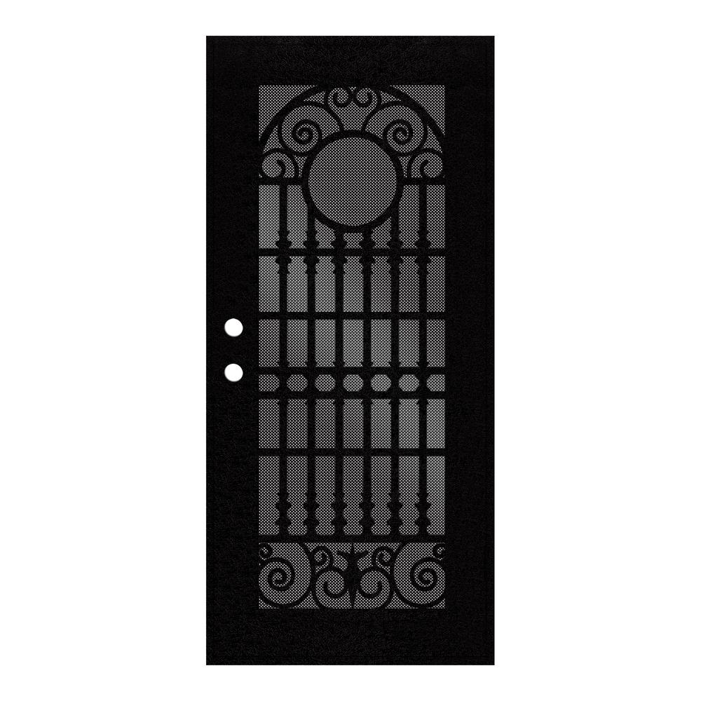 Unique Home Designs 30 In X 80 In Spaniard Black Right Hand Surface Mount Aluminum Security
