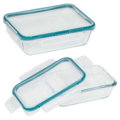 Total Solution Glass Food Storage 4-Piece Rectangle Value Pack Set