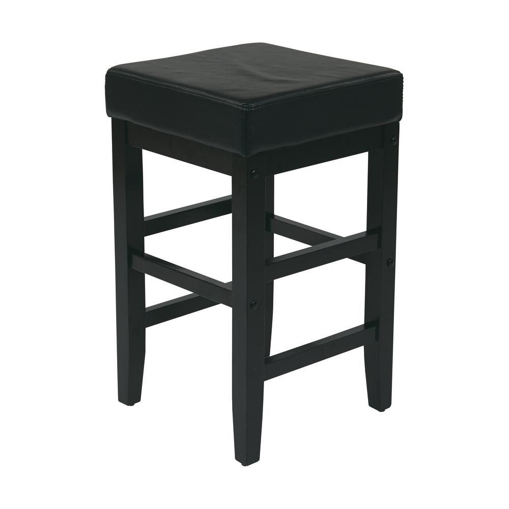 OSP Home Furnishings 25 in. Espresso Cushioned Bar Stool, Black OSP Home Furnishings 25 in. Espresso Cushioned Bar Stool, Black