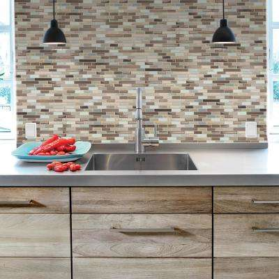 Muretto Durango Approximately 3 in. W x 3 in. H Beige, Taupe and White Decorative Mosaic Wall Tile Backsplash Sample