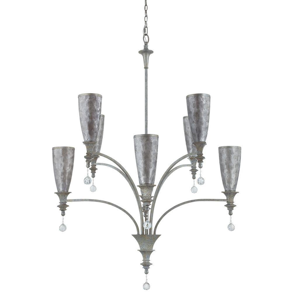 Yosemite Home Decor Capiz 8-Light Incandescent Chandelier, Capiz Frame with Crystals