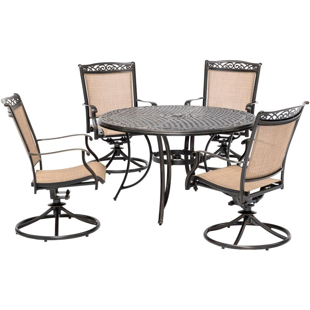 Hanover Fontana 5 Piece Aluminum Outdoor Dining Set With 4 Sling Swivel Rockers And A 48 In Cast Top Table Fntdn5pcswc The Home Depot
