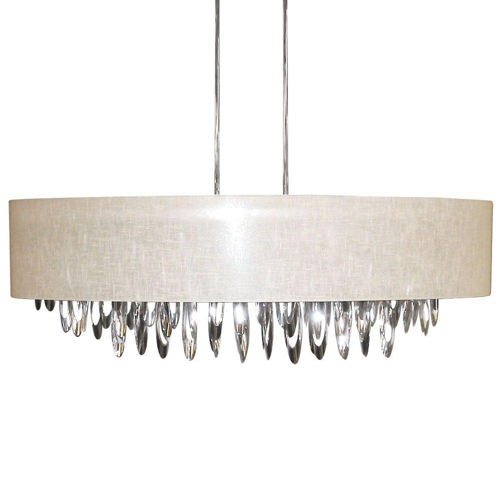 Radionic Hi Tech Allegro 8-Light Polished Chrome Oval Chandelier with Cream Shade