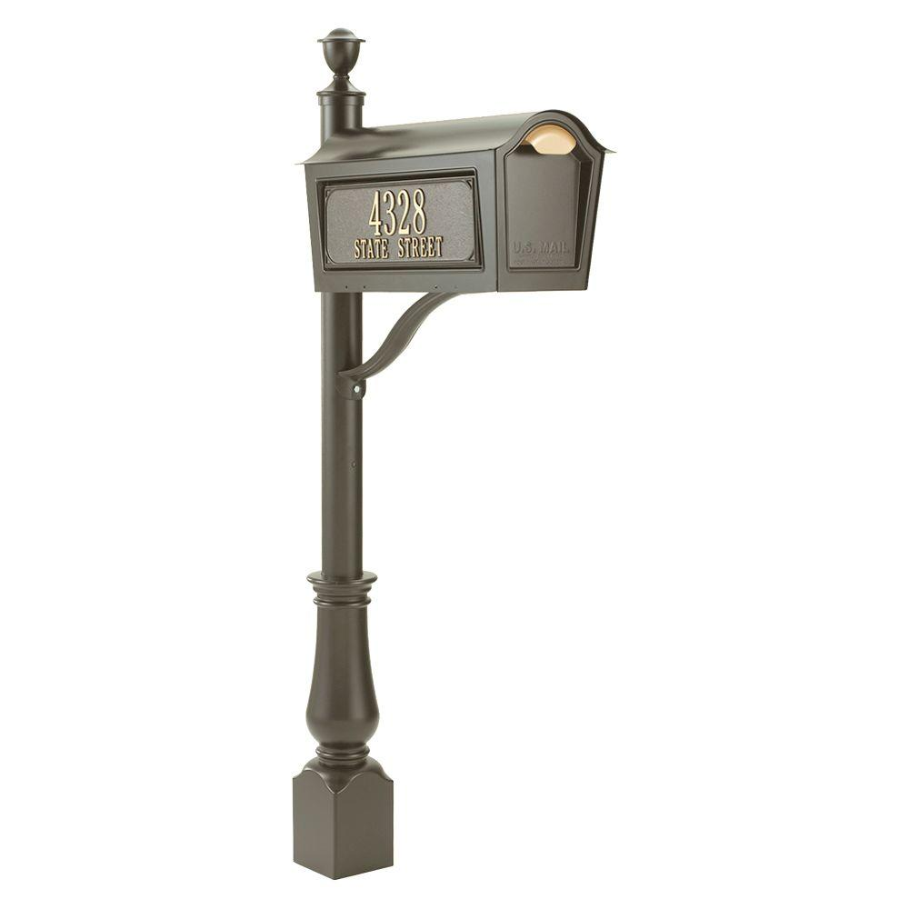 Whitehall Products Standard Chalet Mailbox Package in Bronze
