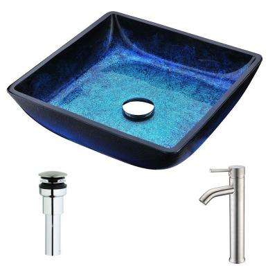Viace Series Deco-Glass Vessel Sink in Blazing Blue with Fann Faucet in Brushed Nickel