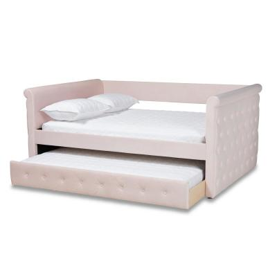 Amaya Light Pink Queen Trundle Daybed