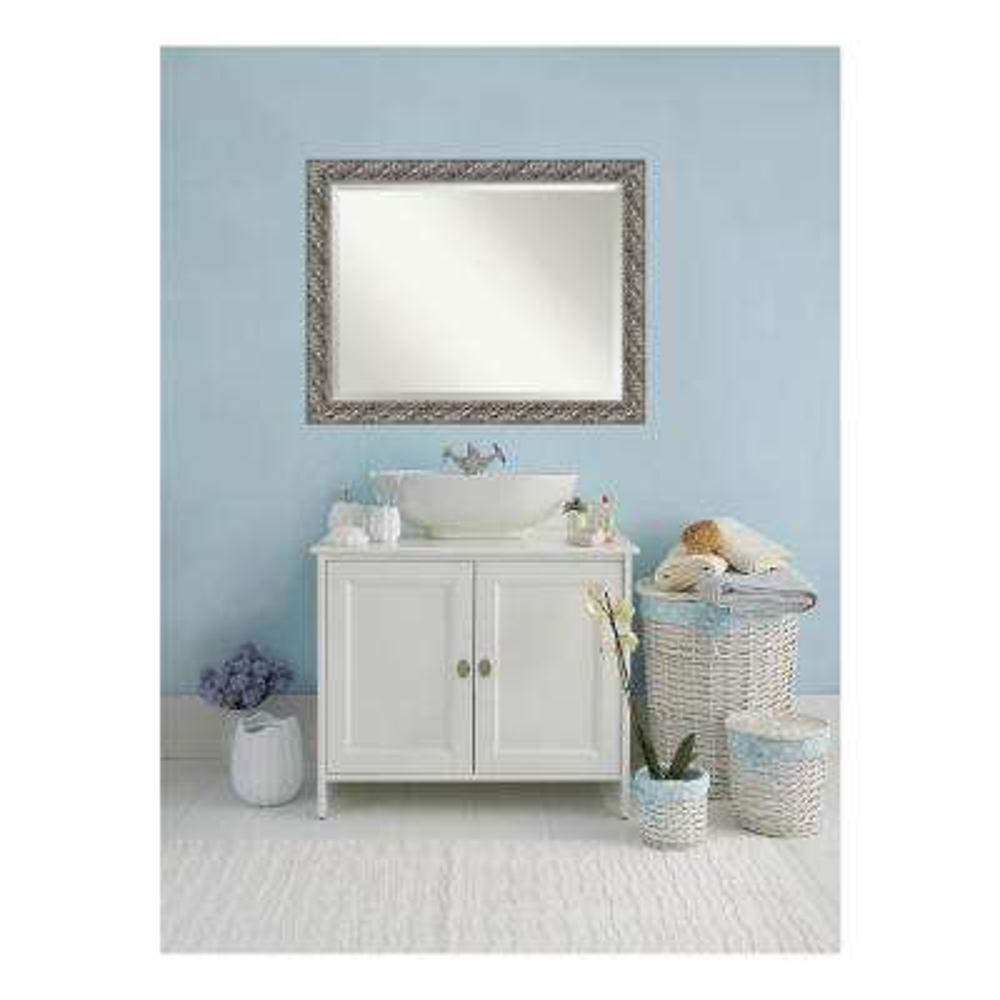 Silver Luxor Wood 46 in. W x 36 in. H Single Contemporary Bathroom Vanity Mirror