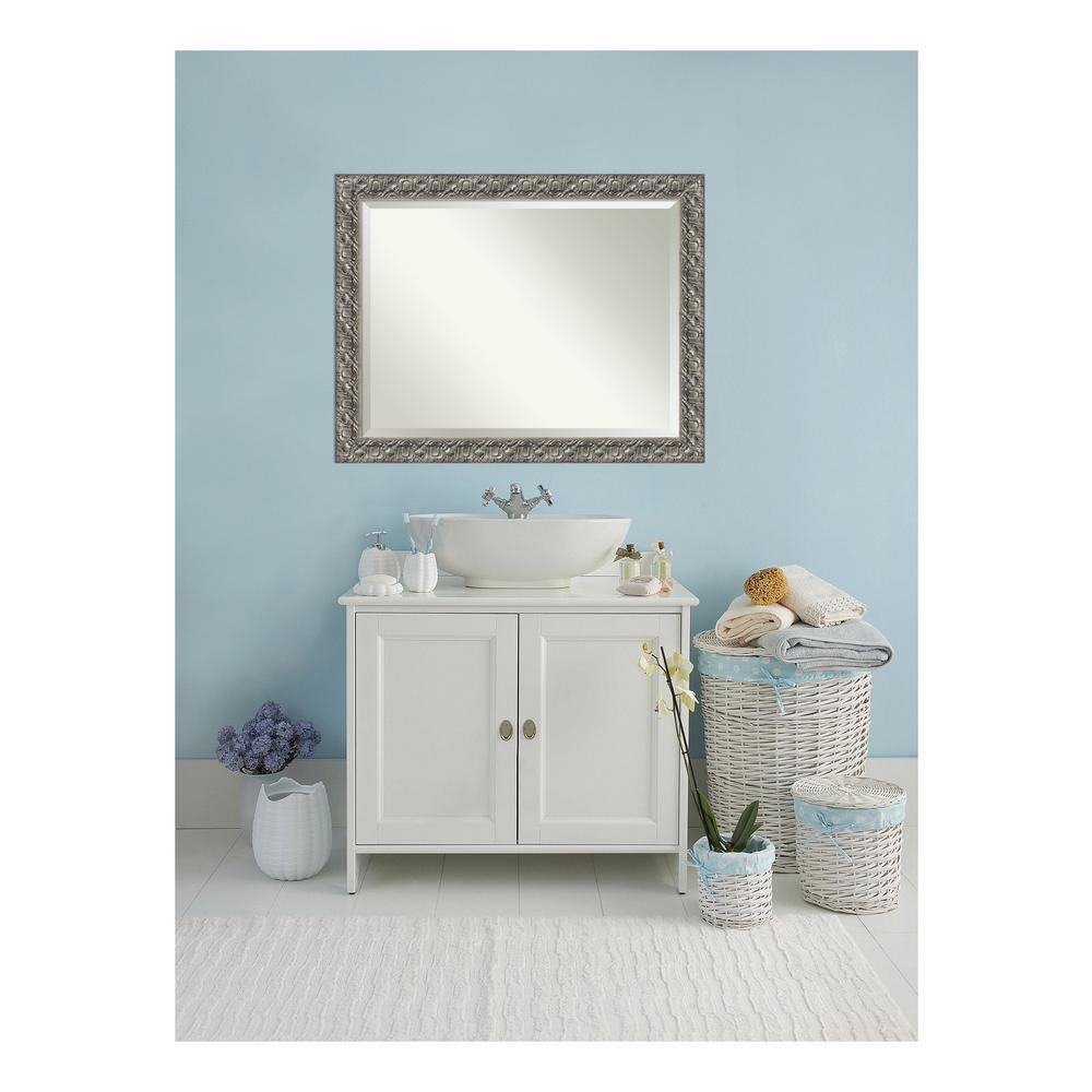 Silver 46 in. W x 36 in. H Framed Rectangular Beveled Edge Bathroom Vanity Mirror in Silver