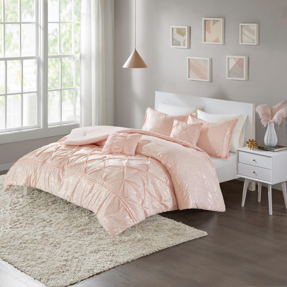 4 Piece Comforter Set Bedding Twin Xl Size Blush Pink Gold Sham