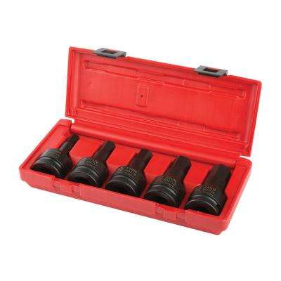 3/4 in. Drive Metric Impact Hex Driver Set (5-Piece)