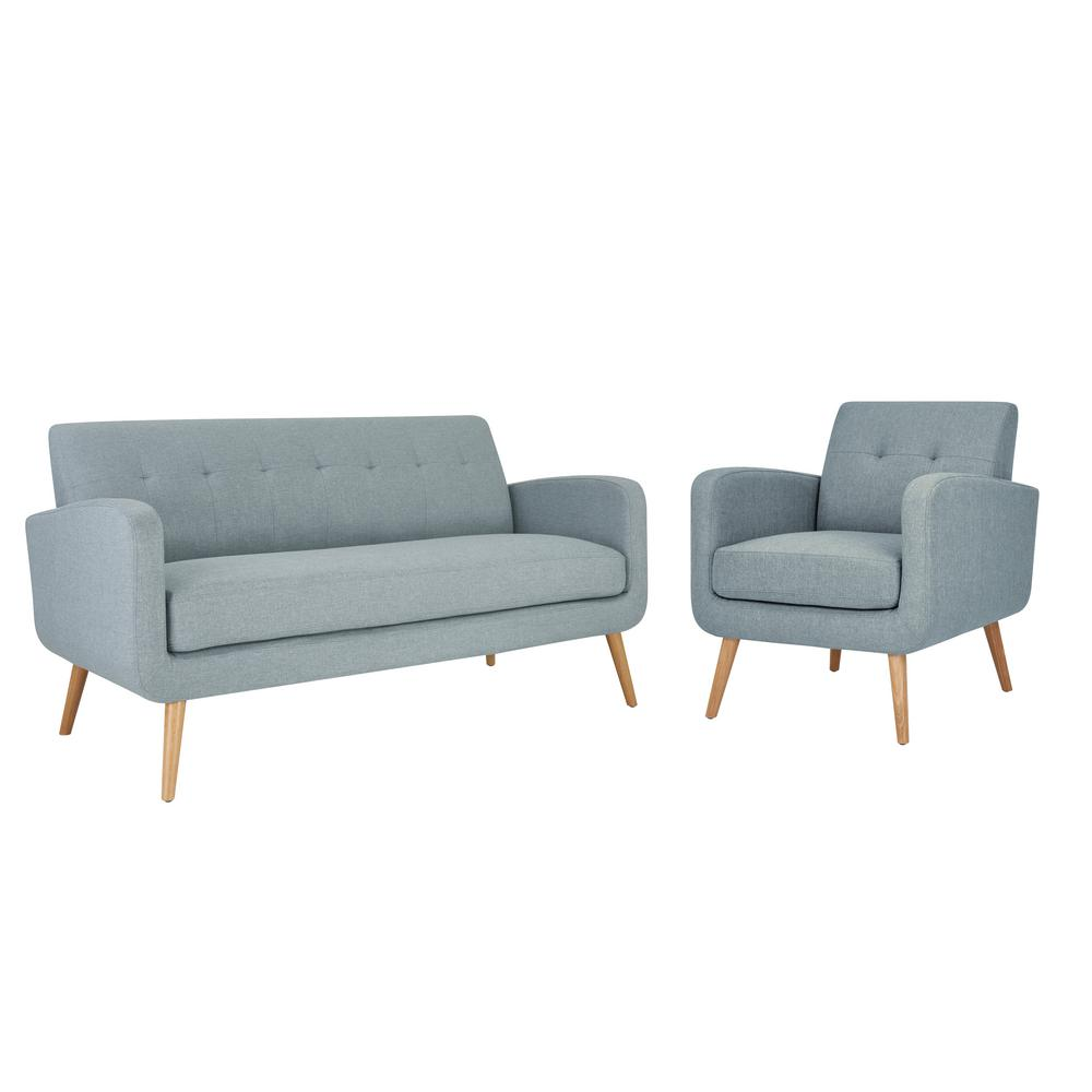 Handy Living Kingston Mid Century Modern Sofa and Arm Chair Set in ...