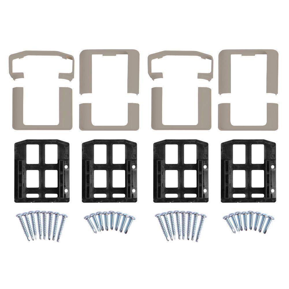 Vanderbuilt/Delray/Bellaire/Vilano Khaki Straight Railing Bracket Kit (4-Piece)