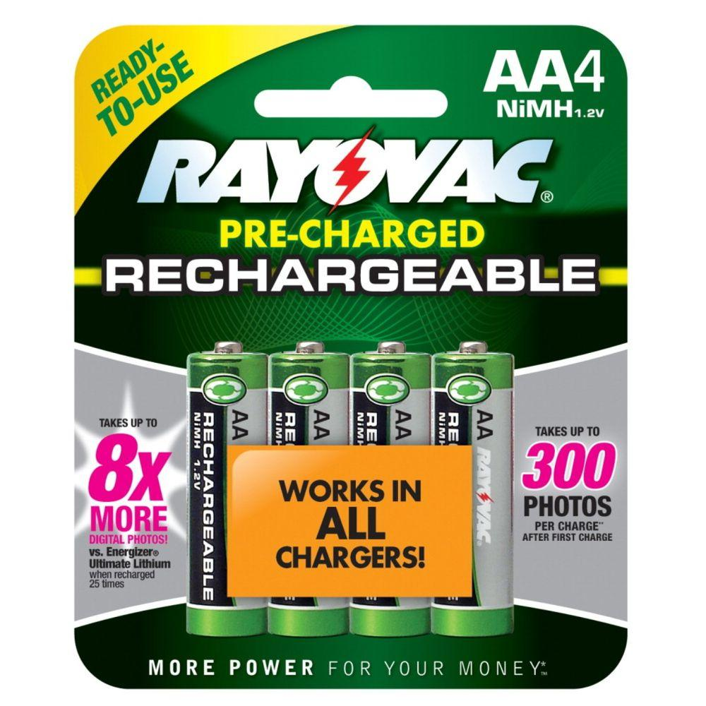 Rayovac Rechargeable Nickel Metal Hydride AA/1.2-Volt Battery (4-Pack)