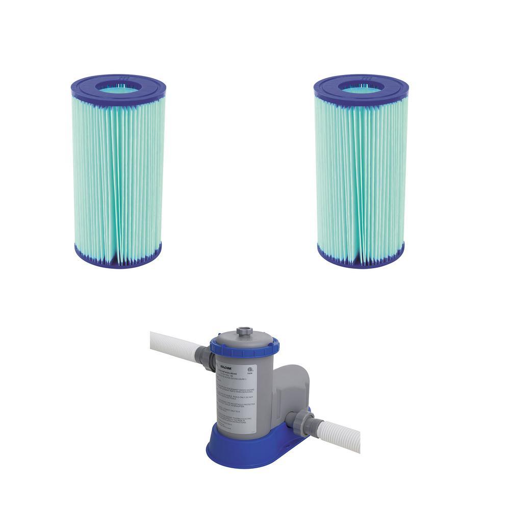 officiële winkel brede variëteiten mannen / man Bestway Flowclear Anti Microbial Type III, A/C Pool Filter (2-Pack)