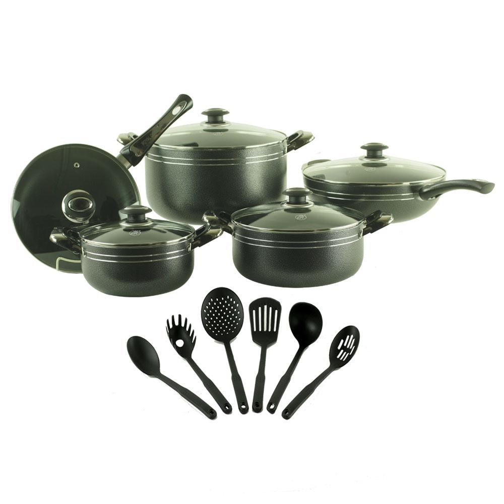Royal Cook 16 Piece Aluminum Non Stick Cookware Set Rc 16119 The