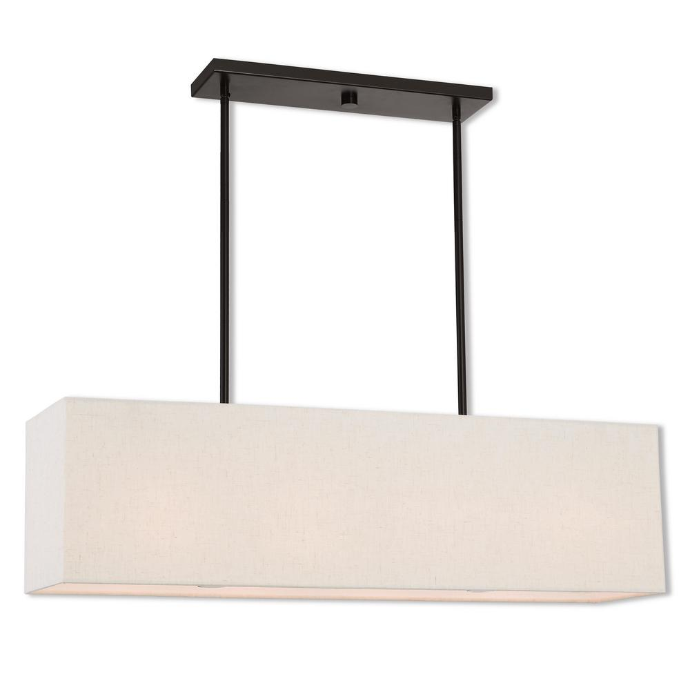 Livex Lighting Summit 4-Light English Bronze Linear Chandelier with Oatmeal Color Outside and White Inside Hardback Shade
