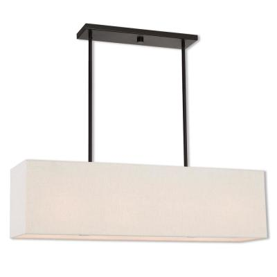 Summit 4-Light English Bronze Linear Chandelier with Oatmeal Color Outside and White Inside Hardback Shade