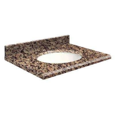 31 in. W x 19 in. D Granite Vanity Top in Baltic Brown with White Basin