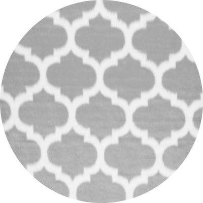 Faux Sheepskin Shaunna Grey 5 ft. x 5 ft. Round Area Rug