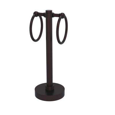 Vanity Top 2 Towel Ring Guest Towel Holder with Groovy Accents in Antique Bronze