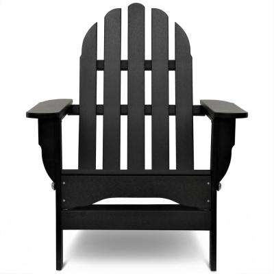 Icon Black Plastic Folding Adirondack Chair