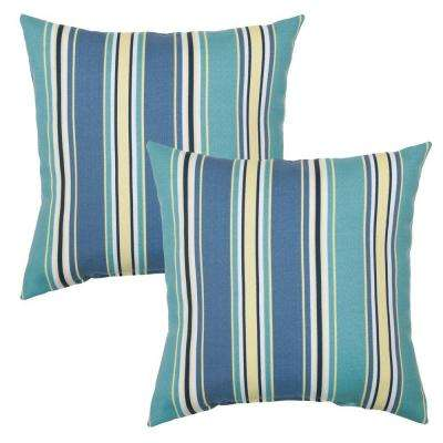 Rainforest Stripe Square Outdoor Throw Pillow (2-Pack)