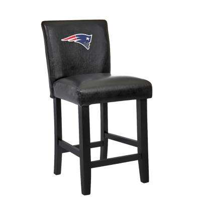 New England Patriots 24 in. Black Bar Stool with Faux Leather Cover (Set of 2)