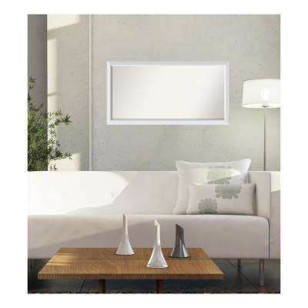 29 in. x 56 in. Blanco White Wood Framed Mirror