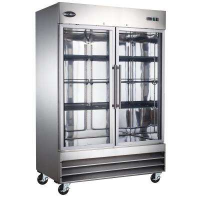 54 in. W 47 cu. ft. Two Glass Door Commercial Refrigerator in Stainless Steel