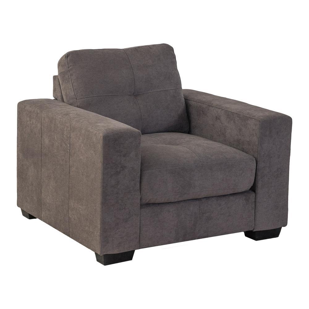 Club Tufted Grey Chenille Fabric Armchair