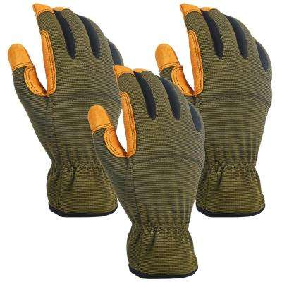 Hybrid Large Green Leather Gloves (3-Pairs)
