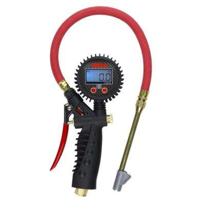 Pro Digital Pistol Grip Inflator Gauge with Straight Foot Dual Chuck and 15 in. Hose