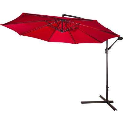 10 ft. Deluxe Market Polyester Offset Patio Umbrella in Red
