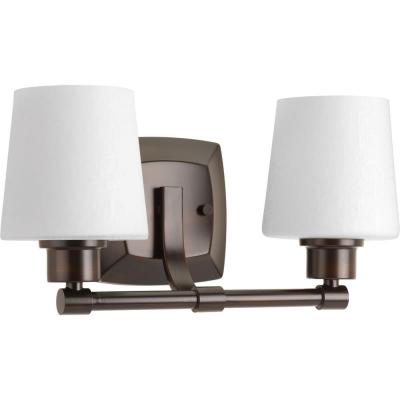 Progress Lighting Glance Collection 2-Light Antique Bronze Bathroom Vanity Light with Glass Shades