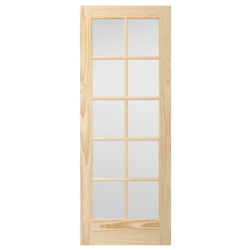36 In X 80 In Pine Unfinished 2 Panel Full Louver Wood: Masonite 36 In. X 80 In. Full-Lite Solid-Core Primed MDF