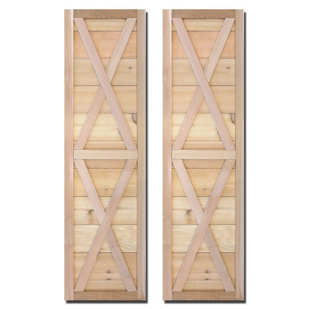 Design Craft MIllworks 15 in. x 55 in. Natural Cedar Board-N-Batten Southerland Shutters Pair