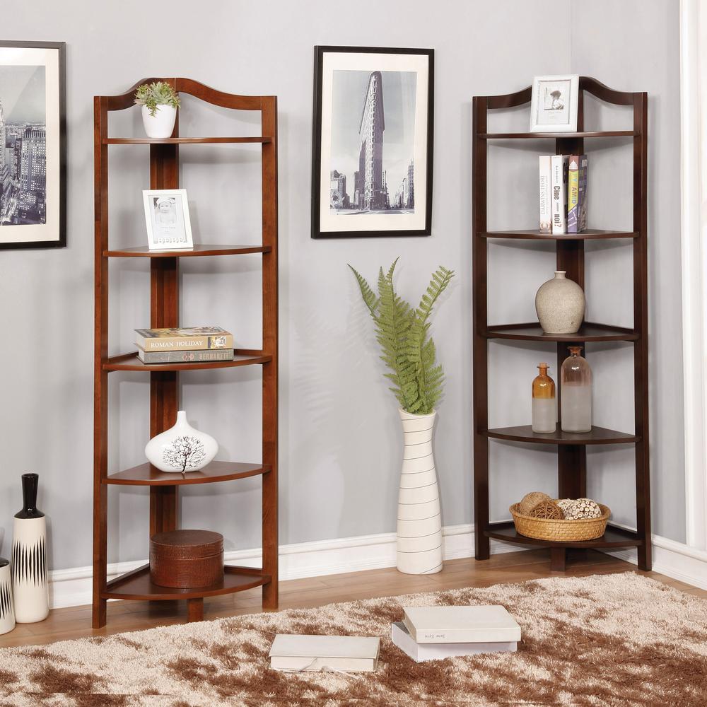In Oak Wood 5 Shelf Corner Bookcase, Corner Bookcase Furniture