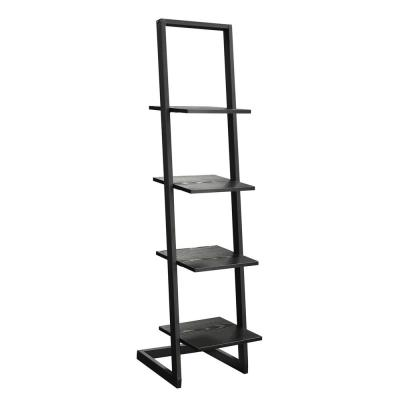 Designs2Go 56 in. H Black Particle Board 4 -Shelf Ladder Bookcase with Metal Frame