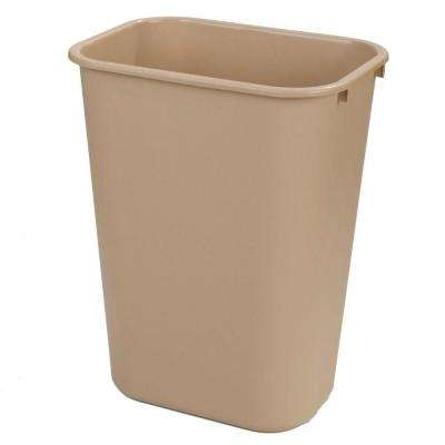 10 Gal. Beige Rectangular Office Trash Can (12-Case)