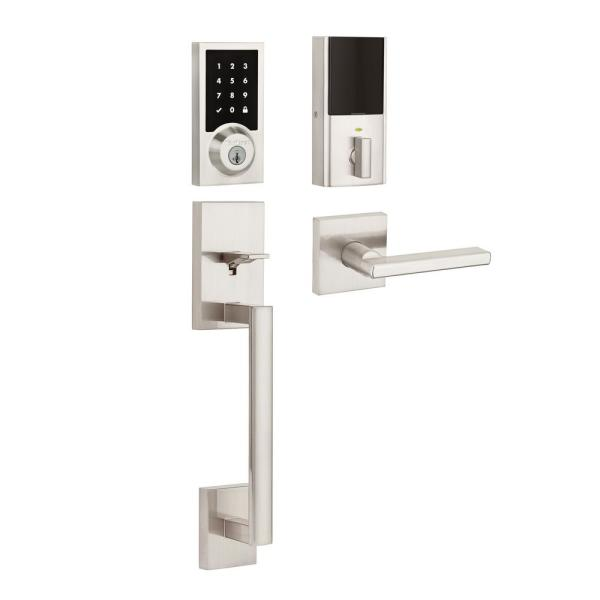 SmartCode 915 Contemporary Satin Nickel Electronic Deadbolt with San Clemente Handleset and Halifax Interior Lever