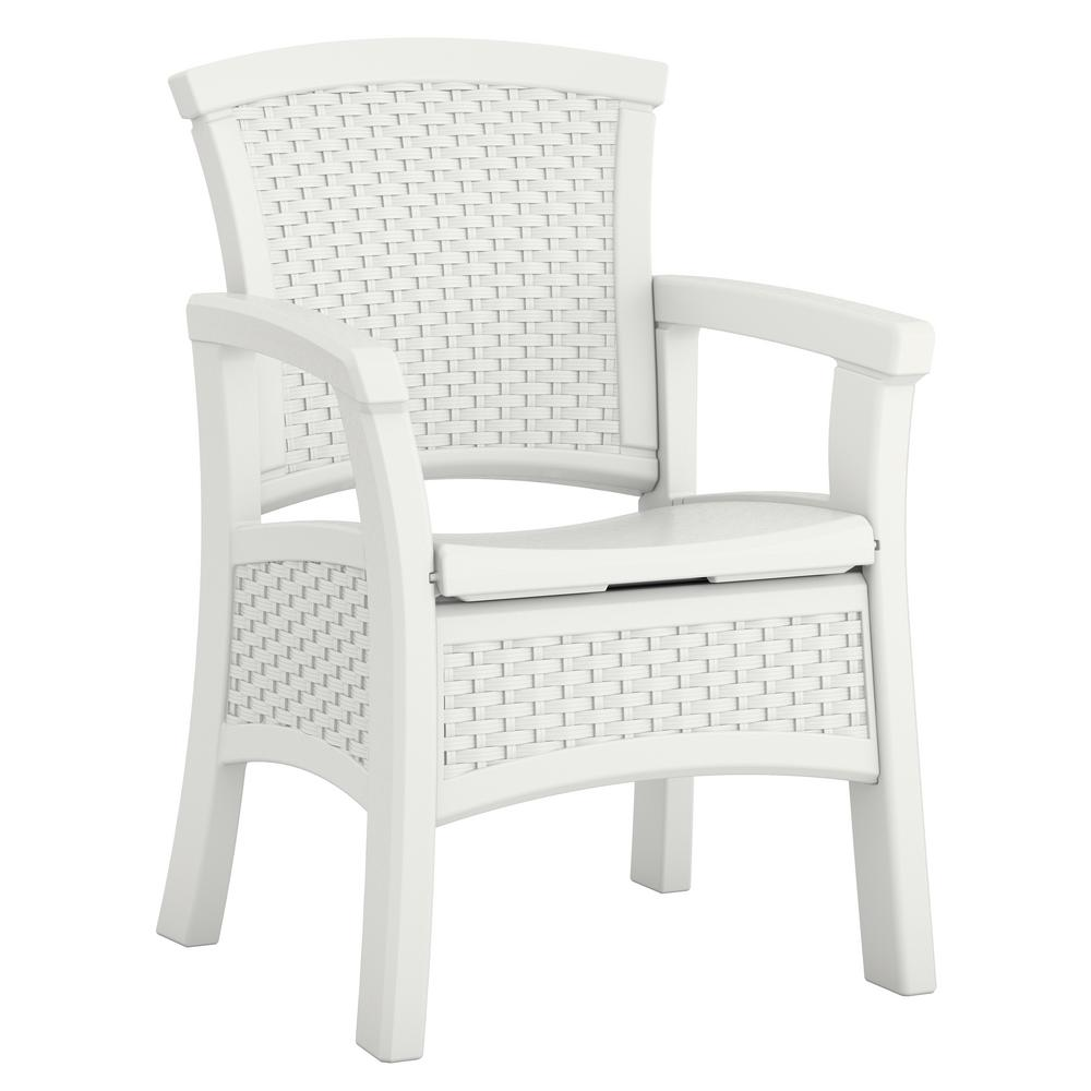 Elements Stationary Resin Outdoor Dining Chair With Storage