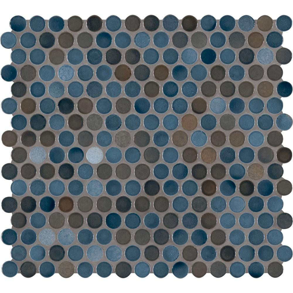 MSI Penny Round Azul 11.3 in. x 12.2 in. x 6mm Porcelain Mesh-Mounted Mosaic Tile