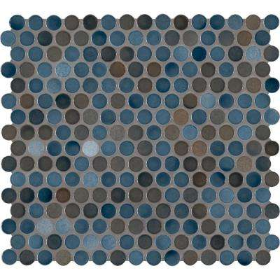 Penny Round Azul 11.3 in. x 12.2 in. x 6mm Glossy Porcelain Mesh-Mounted Mosaic Tile (0.96 sq. ft.)