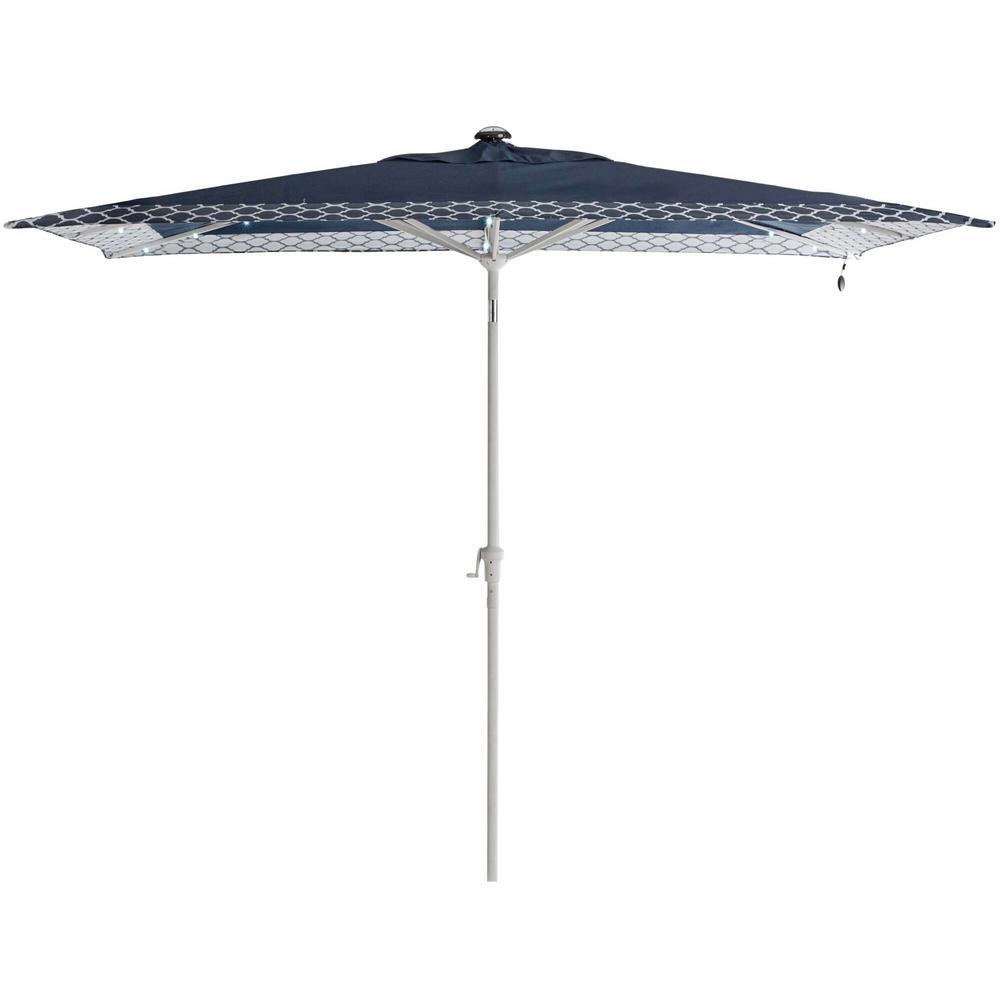 Beacon Park 10 ft. x 6 ft. Aluminum Market Solar Auto Tilt Patio Umbrella in Blue White Trellis