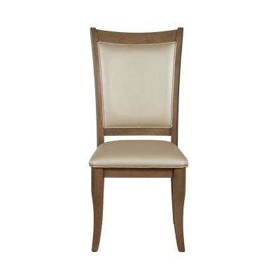 Harald Beige Leatherette and Gray Oak Side Chair (Set of 2)