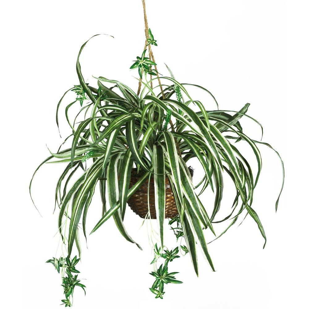 Nearly Natural 27 in. Silk Spider Plant Hanging Basket