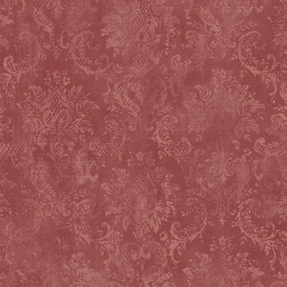 Norwall Norwall Canvas Damask Wallpaper, Red