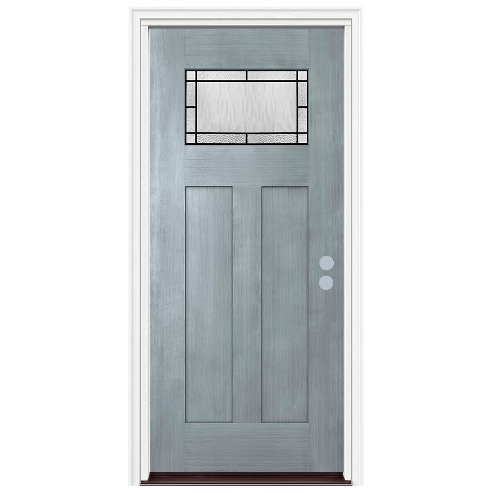 Jeld Wen 36 In X 80 In 1 Lite Craftsman Wendover Stone Stained Fiberglass Prehung Left Hand